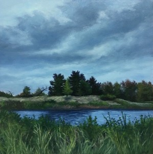 """River and Sky, 6"""" x 6"""", oil on wood panel 
