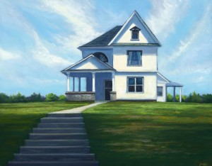 "House by the Road, 11"" x 14"", oil on wood panel 