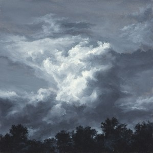 "Impending, 6"" x 6"", oil on paper"