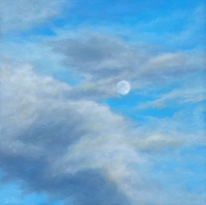 "April Moon, 6"" x 6"", oil on wood panel 