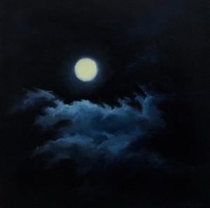 "December Moon, 6"" x 6"", oil on wood panel 