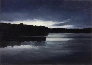 """Hudson at Dusk, 5"""" x 7"""", oil on wood panel 