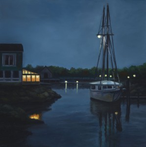 "Harbor Lights, 12"" x 12"", oil on wood panel 