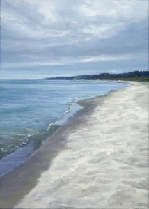 """Lakeshore, 7"""" x 5"""", oil on wood panel 
