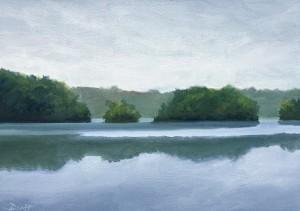"Morning Fog, Kent Lake, 5"" x 7"", oil on panel"