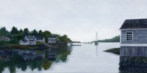 "The Harbor, 18"" x 36"", oil on canvas 