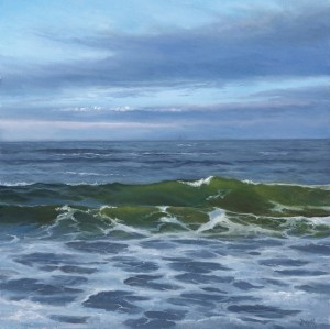 """Twilight Surf, 8"""" x 8"""", oil on panel   Available   Water Street Gallery"""