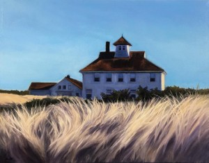 "Coast Guard Station, Point Betsie, 11"" x 14"", oil on canvas"